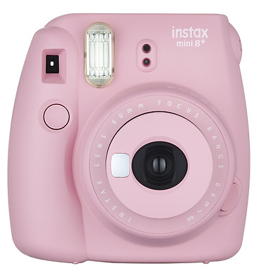 Fujifilm Instax Mini 8+ (Strawberry) Instant Film Camera + Self Shot Mirror for