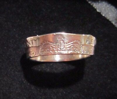 Coin Ring Size 8 Great Britain UK 20 Pence 1982