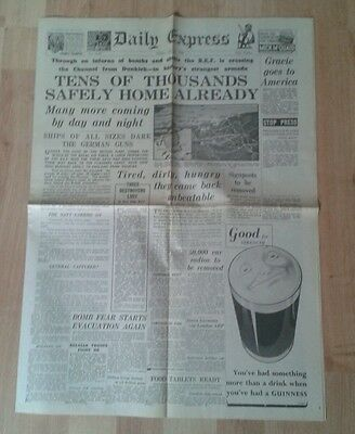 EXPRESS NEWSPAPER.WW2. May 31st 1940. B.E.F evacuated from Dunkirk.