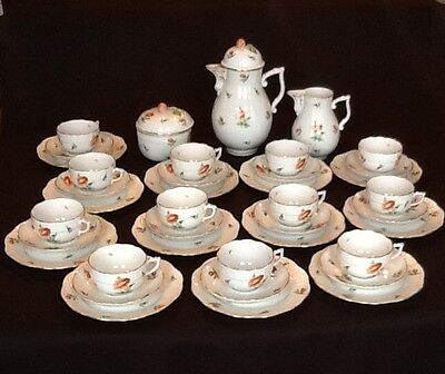 Hand Painted HEREND 39pc. Tea Coffee Luncheon Set Service 12 Floral HER3 Pattern