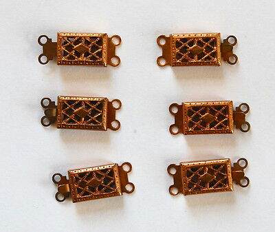 VINTAGE 6 ANTIQUE AGED BRASS copper TINY 2 strand JEWELRY CLASP CLASPS  • 10x7mm