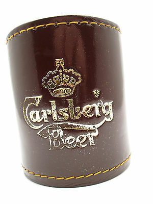 Vintage • Carlsberg Beer • Stitched Leather Bar Dice Cup - EUC  Fast Shipping!