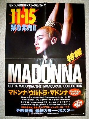 MADONNA - The Immaculate collection : very rare 1990 Japan promo-only POSTER :CD