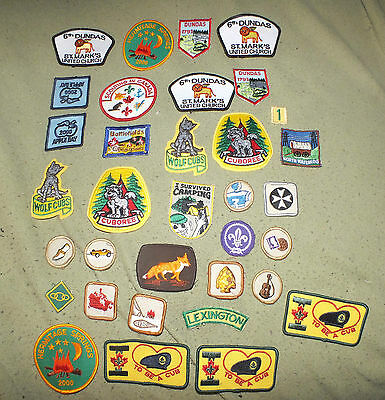 Lot of BOY SCOUT Patches Sports Guitar Stamp Coin Fox Wolf Cub Arrowhead B