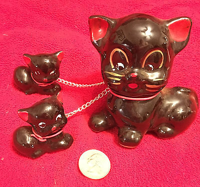 Vintage Pottery Black Cat and Kittens Made in Japan