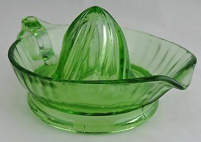 Vintage Pale Green Depression Reamer Vaseline Uranium Glass Large Fruit Juicer B