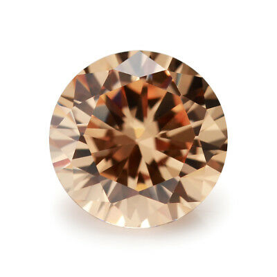 0.8~25mm Champagne AAAAA Round Cubic Zirconia Brilliant Cut Loose CZ Stone