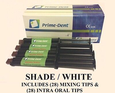 Prime-Dent Dual-Cure Automix Dental Luting Cement 4 Syringe Kit  #100-119 White