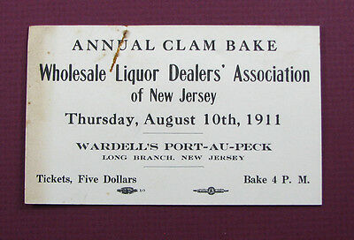 #206 - neat! 1911 NEW JERSEY LIQUOR DEALERS ASSN adv card CLAM BAKE Long Branch