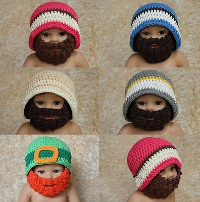 New Handmade Cotton Full Beard Baby Knit Crochet Hat Newborn Photo Prop 0-4Year