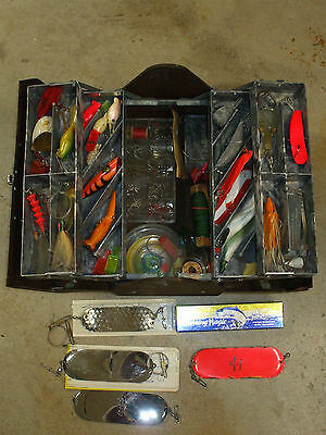 Salmon Tackle Box Full of Vintage Fishing Lures Flashers Accessories Philson....