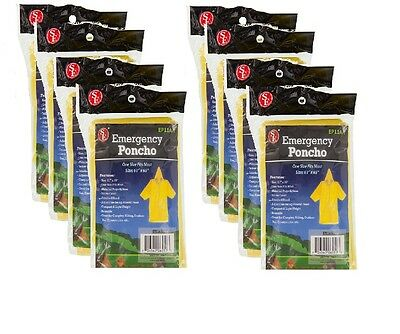 """Lot of 8 Emergency Rain Poncho Disaster Prep Hiking Camping 61"""" x 65"""" One Size"""