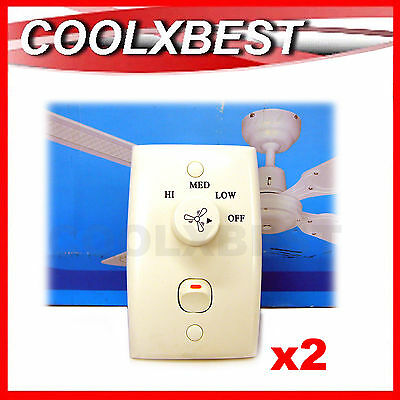 2 x NEW AUST APPROVED UNIVERSAL CEILING FAN WALL CONTROL 3 SPEED + LIGHT SWITCH