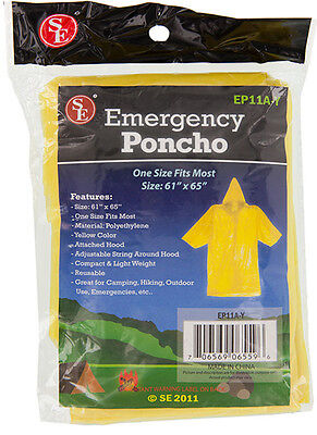 "Emergency Rain Poncho Disaster Prep Hiking Camping 61"" x 65"" One Size"