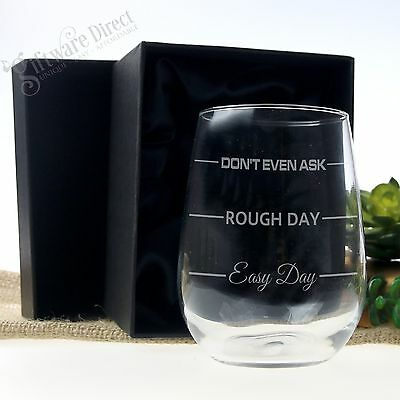 Engraved 500ml STEMLESS Wine Glass 'Easy Day Rough Day Mothers Day Gift Birthday