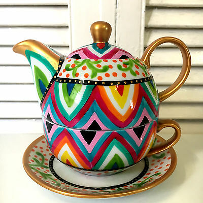 Teapot and Cup For One - Tea Set for One Hand Painted Ceramic Colourful 500ml