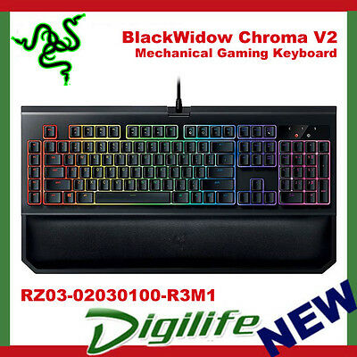 RAZER BLACKWIDOW CHROMA V2 Mechanical RGB Gaming Keyboard Palm Rest Green  Switch