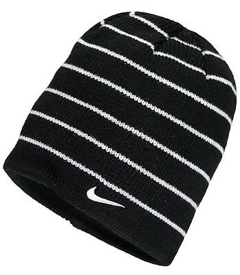 new product 9e944 59c74  NEW Youth Nike Swoosh Striped Beanie Ski Cap Winter Hat One Size Fits Most  8