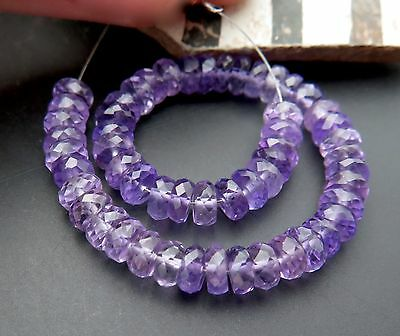 54 BRAZILIAN LILAC PURPLE FACETED  RONDELLE AMETHYST BEADS MINI STRAND 4.5in