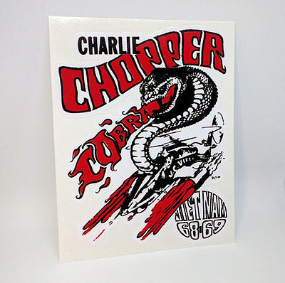 Charlie Chopper 1960's Vietnam Vintage Style Vinyl DECAL/Sticker, rat rod,racing