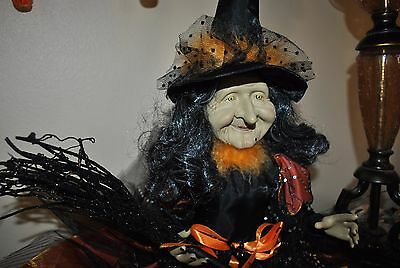 """NEW SPOOKED WITCH doll Halloween 33"""" BLACK/ORANGE BROOM STRIPED LEGGINGS Sitter"""