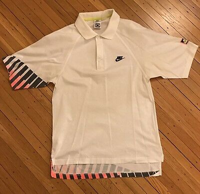 Vintage Nike Challenge Court Andre Agassi Tennis Polo Shirt 80s White Hot Lava