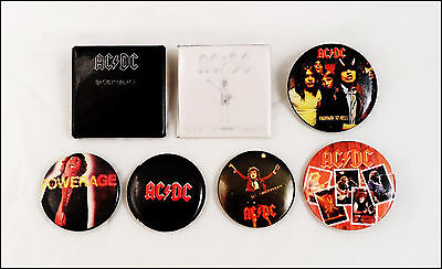 AC/DC Lot Of 7 80's Buttons Pins / Highway To Hell / Back In Black / Powerage