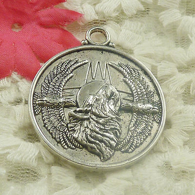 Free Ship 10 pieces Antique silver round hawk wolf charms pendant 41x35mm H-4814