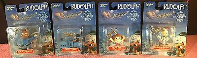 """Set Of 4 2001 """"Rudolph & The Island of Misfit Toys"""" Clip-On Ornament NOS"""