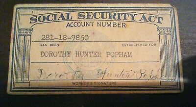 Vintage Social Security Act Account Number Card