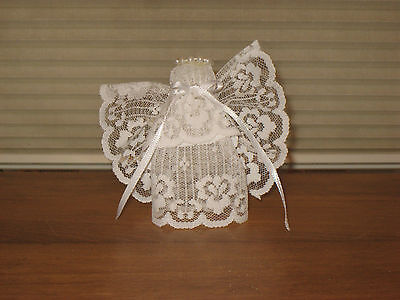 White Lace Angel W/ Pearl Halo & Satin Ribbon Bow & Hanger