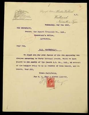 RMS CARPATHIA – (TITANIC) Original and extremely RARE 1903 receipt to build her