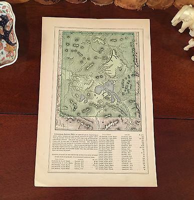 Original 1882 Engraved 135-yr-old Antique Map YELLOWSTONE NATIONAL PARK Wyoming