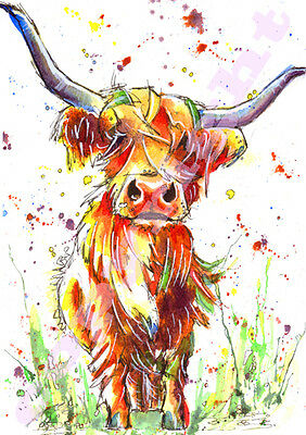 HIGHLAND COW Picture Print of ORIGINAL WATERCOLOUR Cattle Painting by Josie P