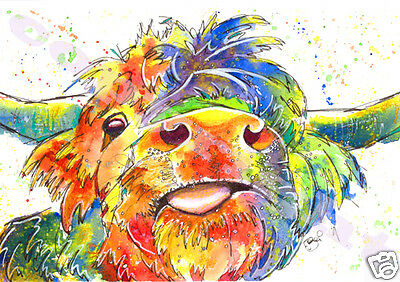 HIGHLAND COW PRINT of Original Watercolour Scottish Painting Art by JOSIE P