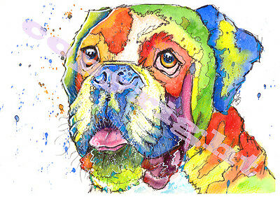 BOXER Dog Hound Art Puppy Dog PRINT of ORIGINAL WATERCOLOUR Painting by Josie P