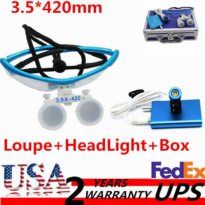 3.5x 420mm Dental Surgical Binocular Loupes Head Light Lamp+Aluminum Box 2017