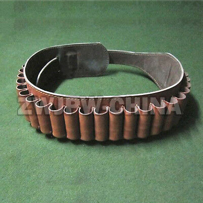 WW2 China Army Leather Tactical Shotgun Shell Hunting Belt 25 Round Ammo Pouch