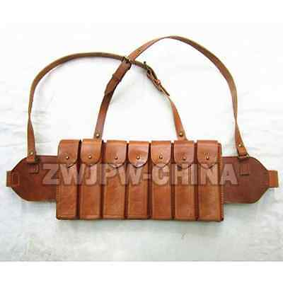 WW2 China Chinese Army Carbines Bullet Bags Ammo Pouch 7 Clips Leather  Replica