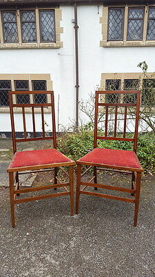 A Pretty Pair of Antique Edwardian Mahogany Inlaid Stick Back Bedroom Chairs
