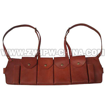 WW2 China KMT Army Heavy Machine Gun Leather Bullet Bag Ammo Pouch4 Clip Replica