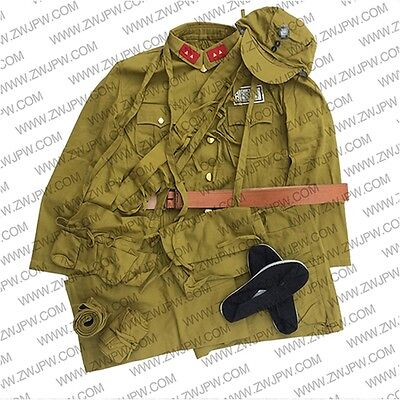 WW2 Chinese KMT Army Soldier Uniform Sets Jacket&Pants Hat Belt Bag Ammo Pouch