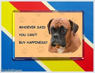 Boxer Dog Red New Jumbo Fridge/locker Magnet (Who Said You Can't Buy Happiness?)