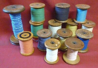Vintage Wooden Textile Industry Bobbins Spools Reels Factory x 14