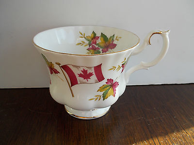 Royal Albert~ Bone China~ England ~Teacup Only ,canada  Flag W / Maple Leaves