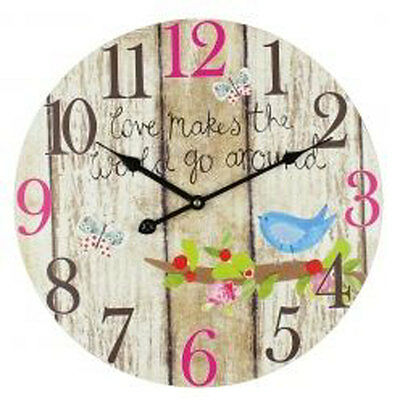 French chic Rustic Butterflies and Birds Wall Clock - Modern Bedroom Wall Clock