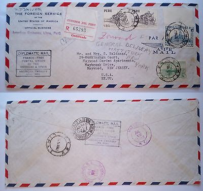 Peru' Lima 1953 Stamped Cover Diplomatic Registered Air Mail To Maywood Usa