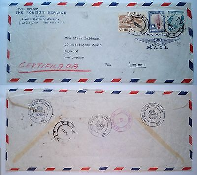 Peru' Lima 1952 Stamped Cover Diplomatic Air Mail To Maywood Usa