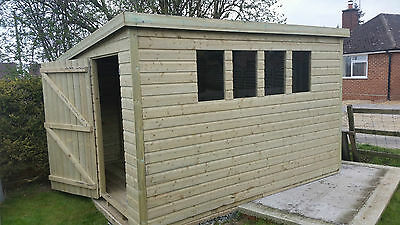 12 x 8 19mm Tanalised & Pressure Treated T&G Pent Shed, Garden Shed.
