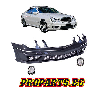 Painted Mercedes E-class W211 S211 E63 AMG LOOK FRONT BUMPER WITH FOGS Facelift